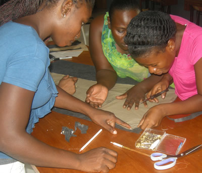 Students work on sewing project